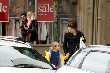 Nell Burton Helena Bonham Carter Runs Errands with Her Daughter