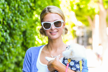 Paris Hilton Paris Hilton Out for a Walk With Her Pup