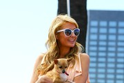 Paris Hilton Visits the 'Extra' Set