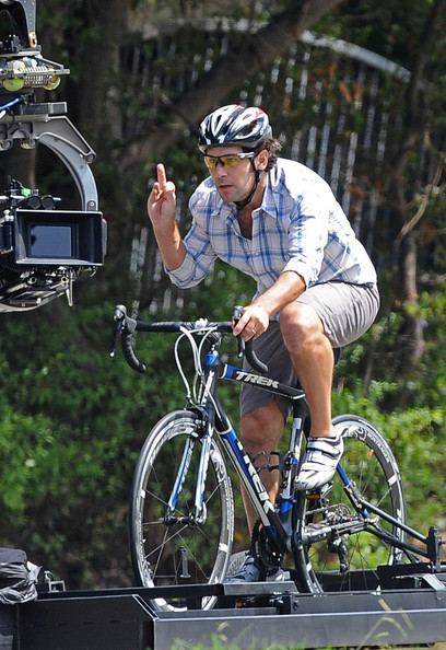 "Paul Rudd shows some road rage as he's riding a bicycle while filming ""This Is 40"" in Brentwood, CA."
