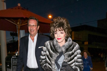 Percy Gibson Joan Collins Outside Craig's Restaurant In West Hollywood