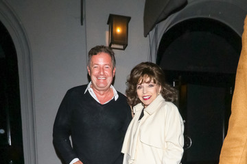 Piers Morgan Joan Collins And Percy Gibson Outside Craig's Restaurant In West Hollywood