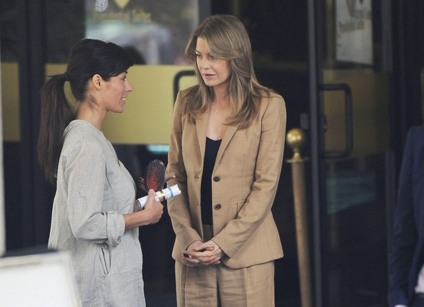 Photo by EROTEME.CO.UK.Ellen Pompeo wears a tan pantsuit as she waits to film scenes for 'Grey's Anatomy.'.