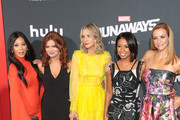 Brittany Ishibashi, Brigid Brannagh, Ever Carradine, Angel Parker and Annie Wersching are seen attending the premiere of Hulu's 'Marvel's Runaways' at The Regency Bruin Theatre in Los Angeles, California.