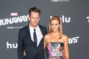 Kip Pardue and Annie Wersching are seen attending the premiere of Hulu's 'Marvel's Runaways' at The Regency Bruin Theatre in Los Angeles, California.
