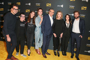 Dan Levy, Lea DeLaria, Sarah Levy, Annie Murphy, Eugene Levy, Catherine O'Hara, Emily Hampshire and Dustin Milligan are seen attending the premiere of Pop TV's 'Schitt's Creek' season 4 at ArcLight Hollywood in Los Angeles, California.