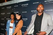 Ron Artest and Metta World Peace are seen arriving at PrettyLittleThing X Hailey Baldwin at Catch restaurant in Los Angeles, California.