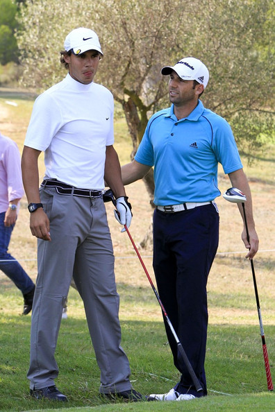 Rafael Nadal and Sergio Garcia - Rafael Nadal Tries Golf