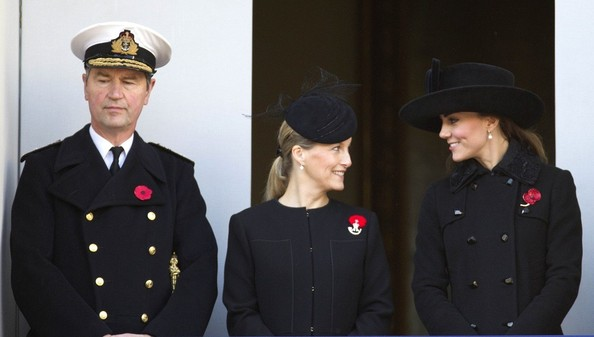 11th November 2012.  The Remembrance service at The Cenotaph in London today.Here, Vice Admiral Sir Timothy Laurence, Kate, Duchess of Cambridge and Sophie, Countess of Wessex.