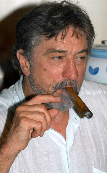 Robert De Niro smoking a cigarette (or weed)