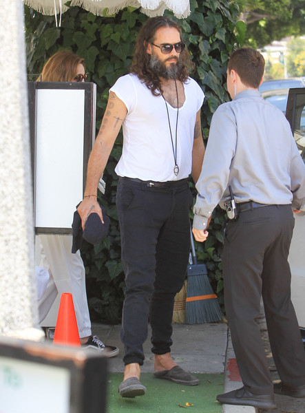 Russell Brand Enjoys Lunch At The Ivy