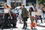 Salma Hayek, her husband, Francois-Henri Pinault and Pinault's daughter, Mathilde are seen in Los Angeles, California.