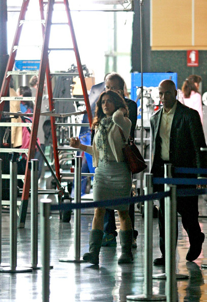 Salma Hayek wraps up filming scenes for 'Here Comes the Boom' at Boston Logan International Airport and leaves the set.