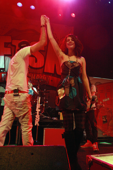 Selena Gomez Selena Gomez appears on stage with rock band Forever The Sickest Kids (FTSK) to perform on track ÒWhoa-Oh (Me VS Everyone)Ó at Avalon.
