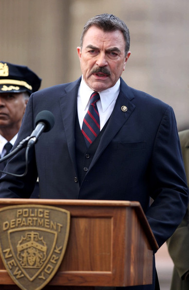 "Tom Selleck films a scene for ""Blue Bloods"" in Staten Island."