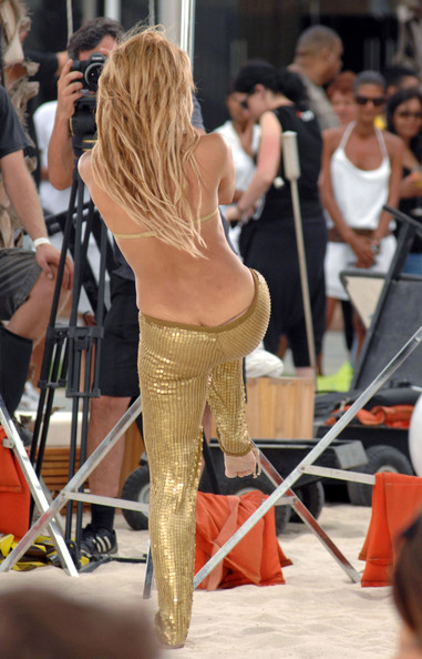 Shakira Shakira looks golden while shooting her latest music video.