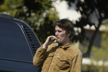 Ethan Hawke smoking a cigarette (or weed)