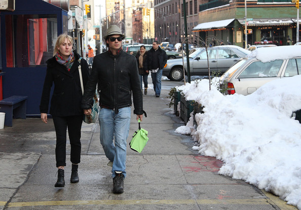 Ian Somerhalder Actor Ian Somerhalder walks around in the snow with his girlfriend, Megan Auld.