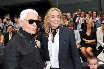 Quinn Kelly Stone Sharon Stone and Son at a Fashion Show