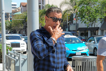 Sylvester Stallone Sylvester Stallone Goes Out in Blue Plaid in Beverly Hills