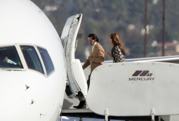 Jennifer Lopez Family and friends gather together on the hot tarmac to board a private plane destined for the wedding of Tom Cruise and Katie Holmes.  Celebrity passengers include Jennifer Lopez and husband Marc Anthony, Leah Remini, Jada Pinkett Smith and Brooke Shields. Tom's mother Mary and his cousin also boarded the celebrity packed flight.