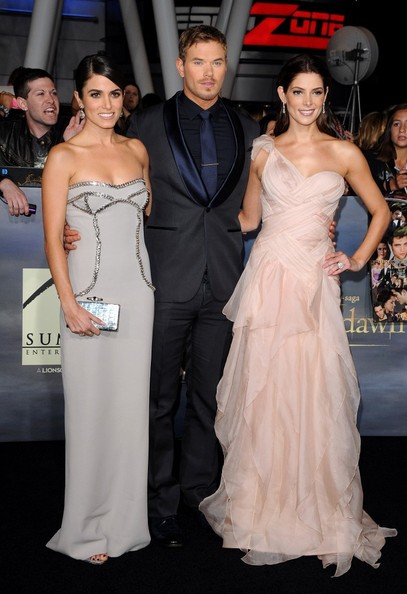 """World Premiere of """"The Twilight Saga: Breaking Dawn - Part 2""""..Nokia Theatre L.A. Live, Los Angeles, CA..November 12, 2012..Job: 121112A1..(Photo by Axelle Woussen)..Pictured: Nikki Reed, Kellan Lutz and Ashley Greene."""