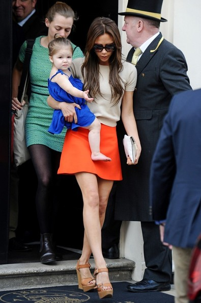 24th April 2013.  Victoria Beckham seen with her daughter Harper out and about in London.