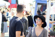 Wells Adams and Sarah Hyland are seen in Los Angeles, California.