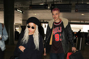 Zoe Kravitz and Karl Glusman is seen at LAX on February 27, 2017.