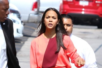 Zoe Saldana Zoe Saldana Arrives at 'Jimmy Kimmel'