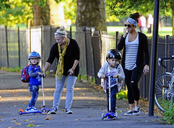 Zuma Rossdale Gwen Stefani and Gavin Rossdale's sons Kingston (b. May 26, 2006) and Zuma (b. August 21, 2008) ride their scooters though Primrose Hill with their nannies. Both boys wear protective helmets, and Zuma's looks like a shark.