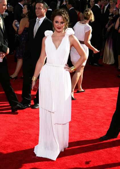 Leighton Meester Celebrities arriving at the 61st Annual Primetime Emmy Awards, Nokia Theatre, Los Angeles, CA.