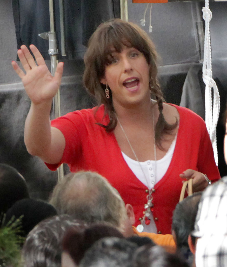 Adam Sandler In Adam Sandler Dressed In Drag On The Set Of