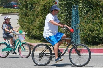 Adam Sandler Adam Sandler and His Family Go for a Bike Ride in Brentwood