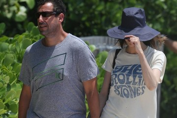Adam Sandler Adam Sandler and Wife Jackie Go Out for a Stroll in Miami