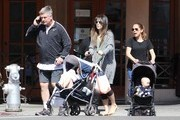 Happy couple Alec Baldwin and Hilaria Thomas stop to get some fresh juice at Kreation in Beverly Hills, California with their children Carmen & Rafael on May 2, 2016. Hilaria is due with the couple's third child, this September.