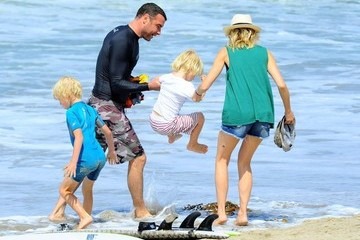 Alexander Schreiber Liev Schreiber Spends Father's Day Surfing With His Family