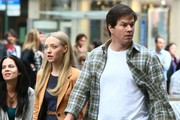 Actors Amanda Seyfried and Mark Wahlberg are seen filming scenes for 'Ted 2' in New York City, New York on October 7, 2014. Mark argued with Ted in one scene and shared a kiss with Amanda in another!<br /> <br /> Pictured: Amanda Seyfried, Mark Wahlberg
