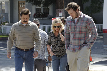 Amy Poehler Nick Offerman Stars On The Set Of 'Parks & Recreation' In LA