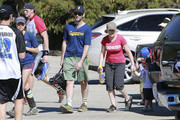'Parks & Recreation' actress Amy Poehler takes her sons Archie and Able to watch the Swanson's Parks & Recreation softball team at Hjelte Sports Center in Encino, California on October 27, 2012. Co-star Aubrey Plaza is a member of the softball team