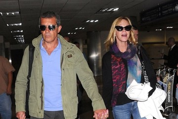 Antonio Banderas Antonio Banderas & Melanie Griffith Arriving On A Flight At LAX