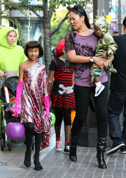 kimora lee simmons kids pictures. Kimora Lee takes her 3 kids Ming Lee Simmons, Aoki Lee Simmons and Kenzo Hounsou trick or treating at The Grove in Los Angeles, CA.