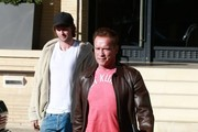 Actor Arnold Schwarzenegger and his son Patrick Schwarzenegger are seen out and about in Beverly Hills, California on December 20, 2016.