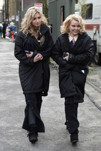 "Ashley Tisdale, Alyson Michalka and Gail O'Grady are seen on the set of ""Hellcats"" in Vancouver."