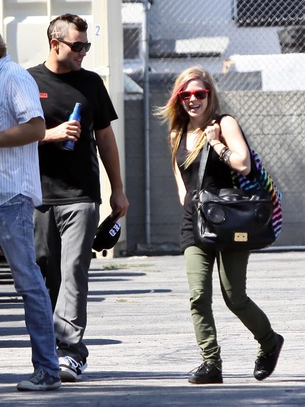 Brody Jenner and Avril Lavigne seen arriving by cab to La Brea Studios in