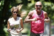 Christian Audigier & Nathalie Sorensen Out For A Jog