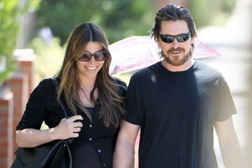 Christian Bale Christian Bale Walks with His Wife