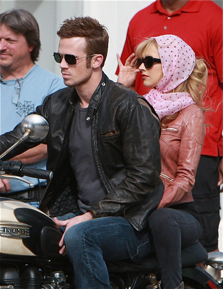 Singer Christina Aguilera and actor Cam Gigandet film a scene for the new movie 'Burlesque' in West Hollywood.