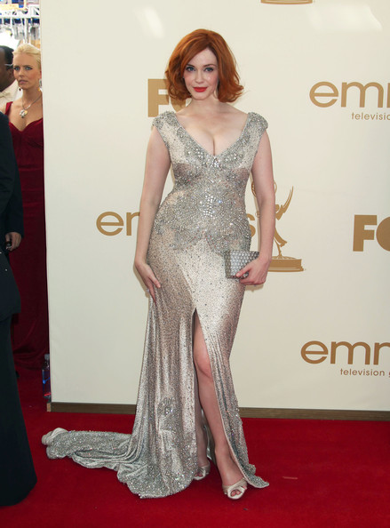 Christina Hendricks Celebrities arriving at the 63rd Primetime Emmy Awards held at the Nokia Theatre in Los Angeles, CA.