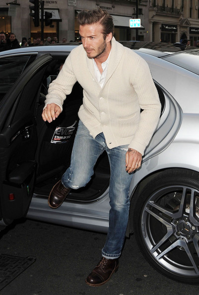 David Beckham Soccer star David Beckham arrives at H&M store on Regent